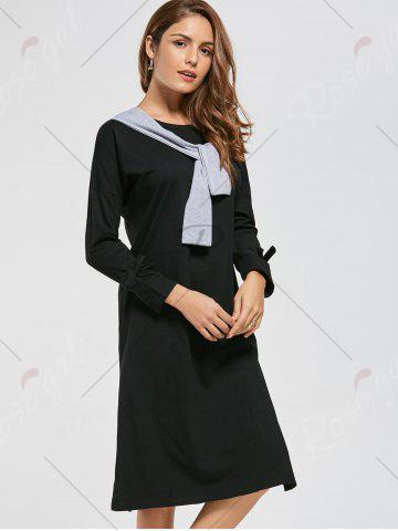 Outfit Long Sleeve Slit Front Tie Shift Dress - S BLACK Mobile