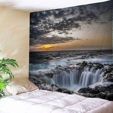 Ocean Hole Print Tapestry Wall Hanging Art Décoration Gris