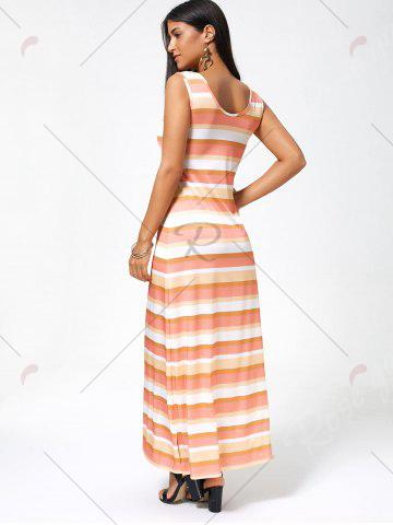 Outfit Striped Sleeveless Long Casual Maxi Tank Dress - XL COLORMIX Mobile
