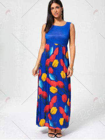 Outfit Tulip Print Empire Waist Sleeveless Maxi Dress - XL ROYAL Mobile