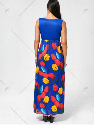 Outfits Tulip Print Empire Waist Sleeveless Maxi Dress - XL ROYAL Mobile