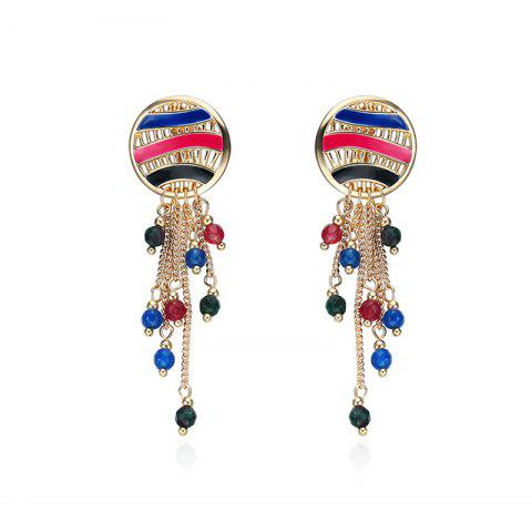 Metal Round Fringed Chain Beads Earrings - Colormix