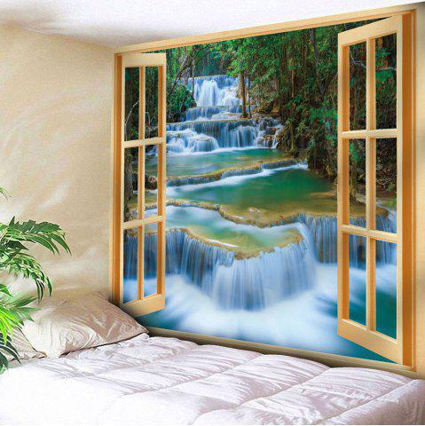 Window Scenery Printed Wall Hanging Tapestry - Yellow - W79 Inch * L71 Inch