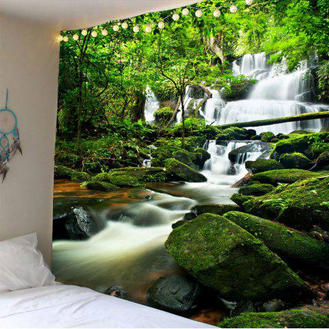 Waterproof Waterfall Forest Wall Hanging Tapestry - Green - W79 Inch * L79 Inch