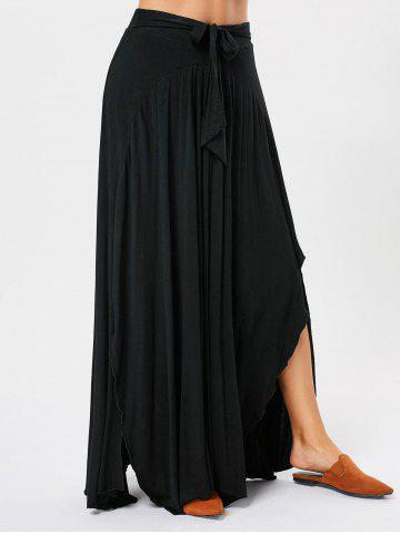 Bowknot Lace Up Asymmetrical Maxi Skirt - Black - S