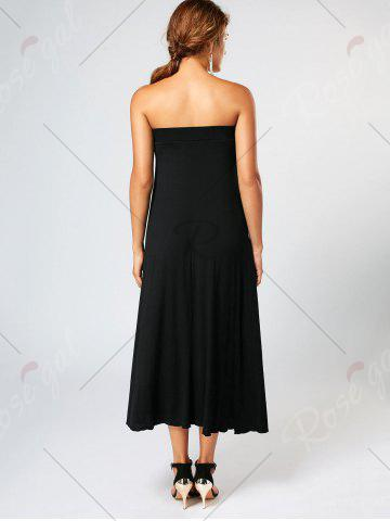 Outfits Bowknot Lace Up Asymmetrical Maxi Skirt - S BLACK Mobile