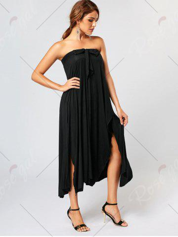 Latest Bowknot Lace Up Asymmetrical Maxi Skirt - S BLACK Mobile