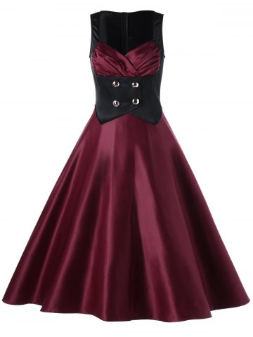 Sweetheart Neck Color Block Vintage Skater Dress - Wine Red - 2xl