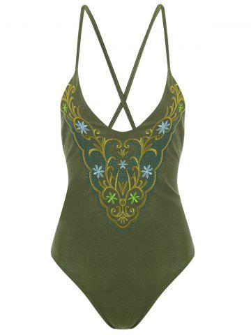 Outfits Plus Size Cross Back Embroidered Swimsuit - 4XL ARMY GREEN Mobile