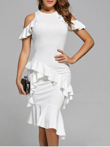 Ruffle Mermaid Cold Shoulder Long Fitted Midi Sheath Cocktail Dress