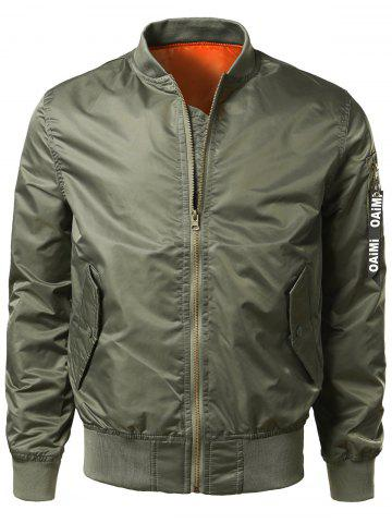 Zipper Up Bomber Jacket with Pocket Detail - ARMY GREEN - XL