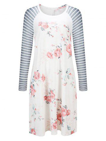 Floral Striped Long Sleeve Casual Dress