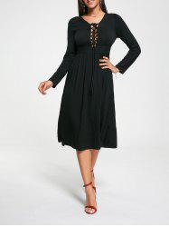 Criss Cross Empire Waist Long Sleeve Dress