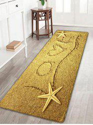 Love Heart Beach Print Flannel Skidproof Rug - YELLOW