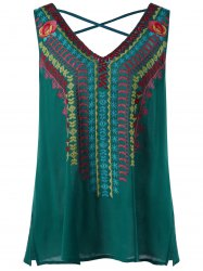 Plus Size Lattice Neck Embroidery Sleeveless Blouse