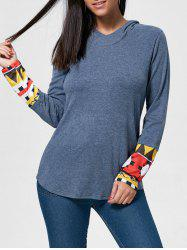 Vintage Cowl Neck Printed Long Sleeve T-Shirt For Women