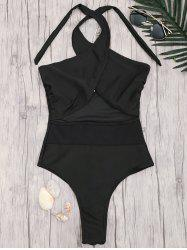 Cross Front High Cut One Piece Swimwear