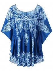 Plus Size Print Butterfly Sleeve Top -