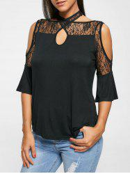 Cross Strap Halter Cold Shoulder Lace Top