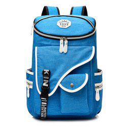 Casual Padded Strap Nylon Backpack - BLUE