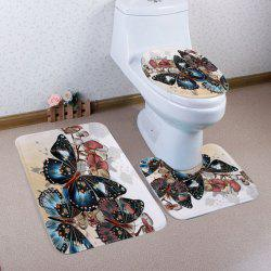 Vintage Butterfly Pattern 3 Pcs Bath Mat Toilet Mat - COLORMIX