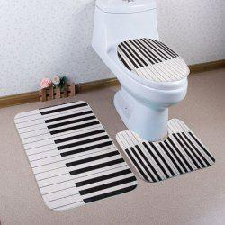 Piano Key Pattern 3 Pcs Toilet Mat Bath Mat - BLACK WHITE