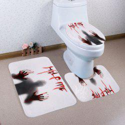 3 Pieces Gothic Shadow Antislip Bathroom Mats Set - GREY WHITE