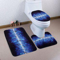 3PCS Music Notes Non Slip Soft Bathroom Rugs Set - BLUE