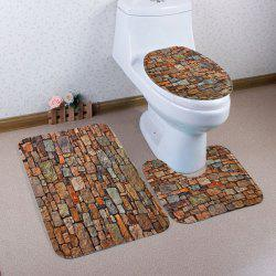 Coral Fleece 3Pcs Vintage Brick Toilet Mats Set - BROWN