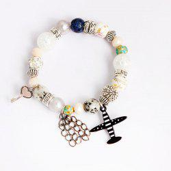 Airplane Key Heart Charm Beaded Bracelet