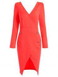 Plunging Neck Long Sleeve Asymmetric Bodycon Dress - RED