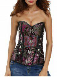 Lace Up Corset Top with Chain - PURPLISH RED S