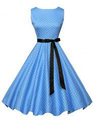 Polka Dot Sleeveless Vintage Dress with Belt - Bleu