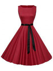 Sleeveless Plain Vintage Belt Dress