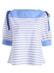 Lace Up Slash Neck Stripe Top -