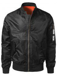 Zipper Up Bomber Jacket with Pocket Detail - BLACK