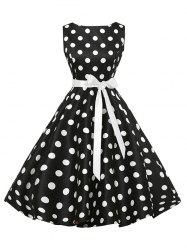 Sleeveless Polka Dot Vintage Dress with Belt