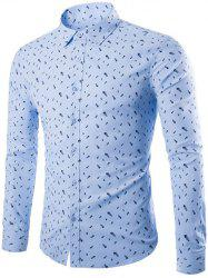 Long Sleeve Fish Bones Print Shirt