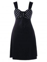 Plus Size Polka Dot Empire Waist Sleeveless Dress - WHITE AND BLACK