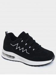 Embroider Line Air Cushion Athletic Shoes - BLACK