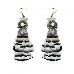 Rhinestone Feather Tassel Fook Earrings