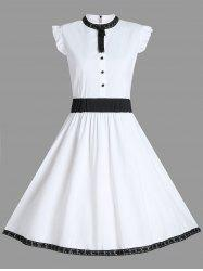 High Neck A Line Sleeveless Dress - WHITE