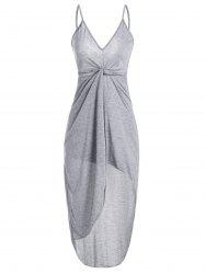 Spaghetti Strap Twist Front High Low Robe Backless - Gris