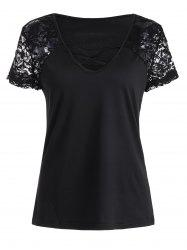 Criss Cross V Neck Lace Sleeve T-shirt