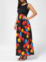 Tulip Print Empire Waist Sleeveless Maxi Dress