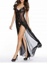 See Through Mesh Maxi Babydoll Dress