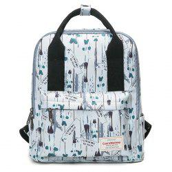 Nylon Printed Backpack - WHITE