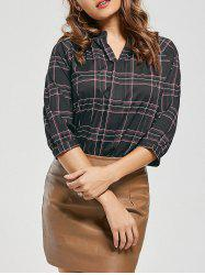 V-neck High Low Plaid Blouse