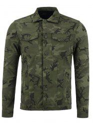 Single Breasted Double Pockets Camouflage Jacket