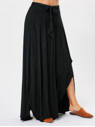 Bowknot Lace Up Asymmetrical Maxi Skirt